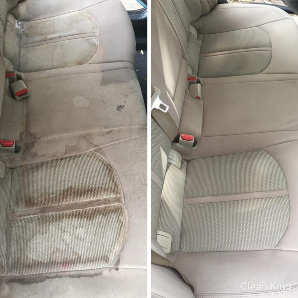 Car seat cleaning before & after